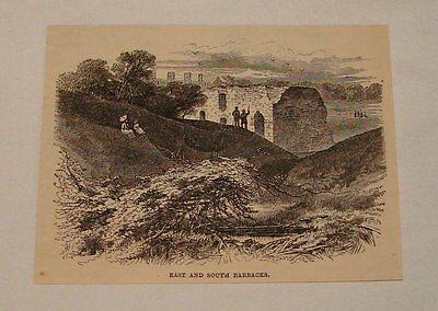 1887 magazine engraving ~ East+South Barracks CROWN POINT, VT