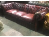Chesterfield 3 Seater Sofa in Oxblood Red Leather with Character - UK Delivery