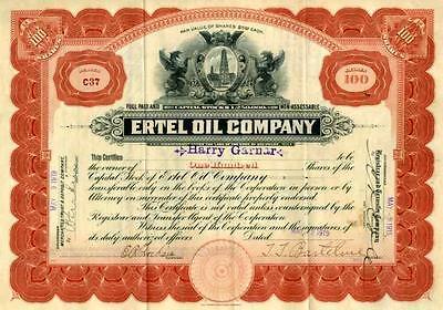 1919 Ertel Oil Stock Certificate