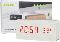 BALDR Wooden Alarm Digital Desk Clock Time and Temperature Display Sound Control