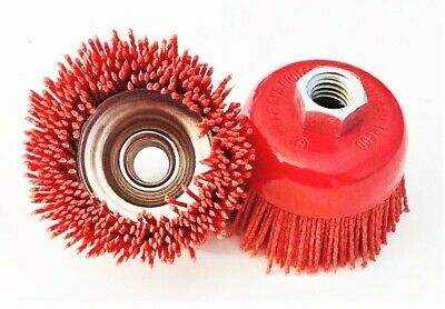 2 Nylon Infused 3 Abrasive Bristle Cup Brush Wheel Wire 58-11 Angle Grinder