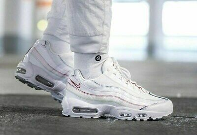 "Nike Air Max 95 SE ""Triple White"" Colored Borders UK 7.5 EU 42 US 10 AQ4138-100"