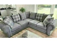 💯GREAT BUYING SALE VERONA CHESTERFIELD GREY PLUSH FABRIC 3+2 SOFA SUITE AND CORNER UNIT ON SALE!!
