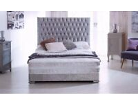 SALE ON FURNITURE- Brand New Double & King Size Crushed Velvet Divan Bed Base With Opt Mattress-