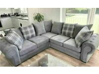 💥💯FACTORY SALE VERONA GREY FABRIC CORNER SOFA SUITE / 3+2 SEATER SETTEE AVAILABLE FOR DELIVERY