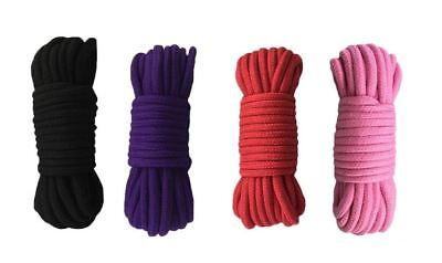 32 ft Soft Durable Body Cotton Rope Strap Various Color (Black Purple Red Pink) (Pink Rope)