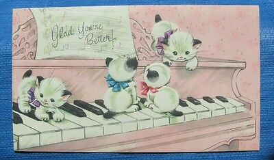UNUSED CATS KITTENS PLAYING ON PINK PIANO KEYS VINTAGE GET WELL GREETING CARD