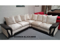 SHANNON CORNER OR 3+2 SEATER SOFA IN BLK/MINK | UK EXPRESS DELIVERY | 1 YEAR WARRANTY