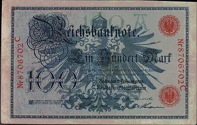 1908 German Empire Kaiser Huge 100 Mark Banknote RED SEAL