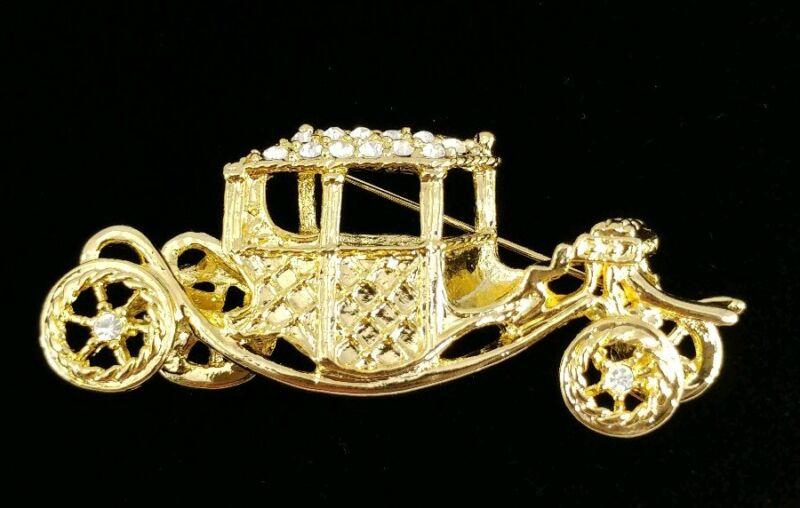 (w) vintage Brooch Pin Buggy Carriage Car Rhinestones Regal Royalty Cinderella