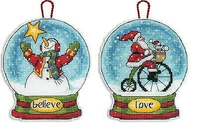 LOT of 2 GLOBE ORNAMENTS Counted Cross Stitch Kits - BELIEVE~LOVE