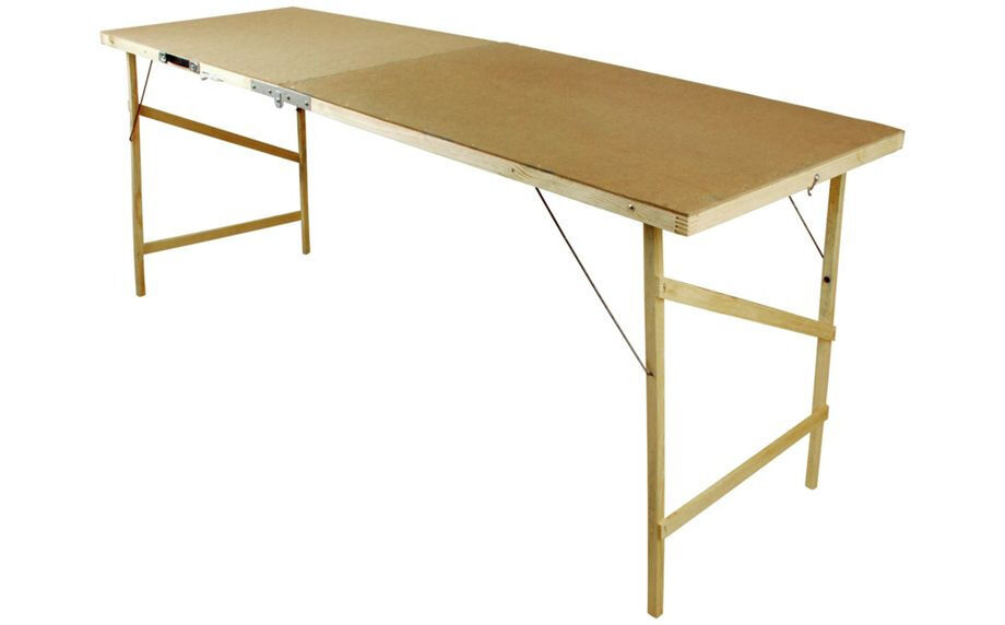 Decorating / wallpaper table. Fold-down with carry handle. Wooden ...