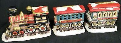 TRAIN CAR SET engine passenger caboose Christmas VILLAGE SQUARE Mervyn's 3pc