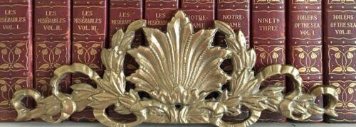 Vintage Large French Brass Baroque Rococo Ornament Pediment Molding Applique