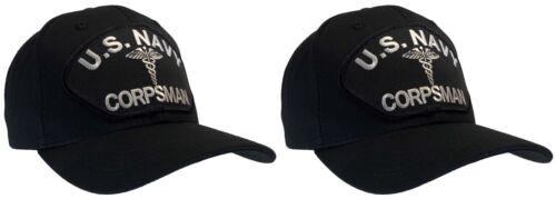 Corpsman Hat US Navy Black Ball Cap 'TWO PACK'