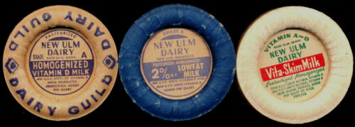 New Ulm Minnesota Dairy 3 Older Cardboard Milk Caps 2% Vita Skim VitD 1940s/50s?