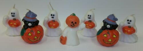 Lot of 7 Halloween Figural Candles - Ghosts Black Cats Jack O Lantern