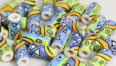 Abstract  tube   Glazed Beads   Hair Beads or Crafts     V03cb  X 10 BEADS
