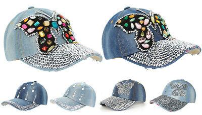 ütze Baseball Caps mit Strasssteinen Glitzer Schmetterling (Kappe Mit Schirm)