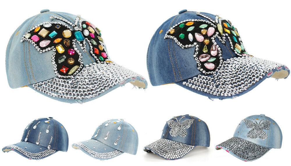 Damen Kappe Schirm Mütze Baseball Caps mit Strasssteinen Glitzer Schmetterling
