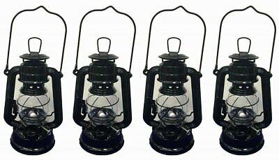 Lot of 4 - 8 Inch Black Hurricane Kerosene Oil Lantern Hanging Light / Lamp