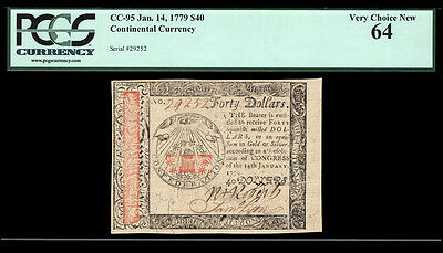 $40 January 14, 1779 Continental Currency CC-95 PCGS 64 ONE OF THE FINEST KNOWN