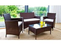 RATTAN GARDEN FURNITURE SET 4 PIECE CHAIRS SOFA TABLE OUTDOOR PATIO SET with FREE UK DELIVERY