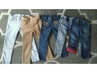 Girls 5-6 age jeans, plus extra 4 trouses