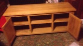 Solid Oak TV cabinet with shelves, and two cupboards. Light Oak