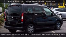 GLASGOW DISTRICT COUNCIL REGISTERED TAXIS AVAILABLE FOR IMMEDIATE RENT WORK FOR UBER