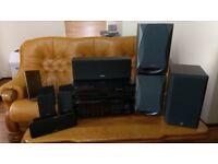 Yamaha AV amplifier cd changer speaker subwoofer central surround pro logic hi fi stereo system
