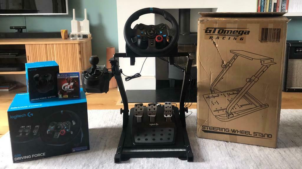 ccf45a60a5e Logitech G29 Racing Wheel, Shifter and Pedals + GT Omega Racing Wheel Stand  + Gran Turismo Sport PS4