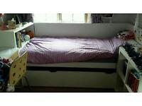 Ikea flaxa bed with pull out underbed and headboard storage unit