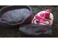 puppy pen and bed with blanket , cushions and luxury toys