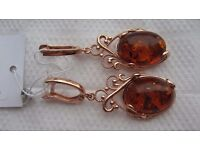 Russian Golden Earrings Sterling Silver 925 Natural Baltic Amber Rose Gold Plated