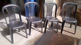 Plastic Patiio Chairs (4)