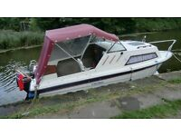 viking 17ft river/canal/lake/sea boat with 15hp big foot mercury electric start 4 stroke outboard