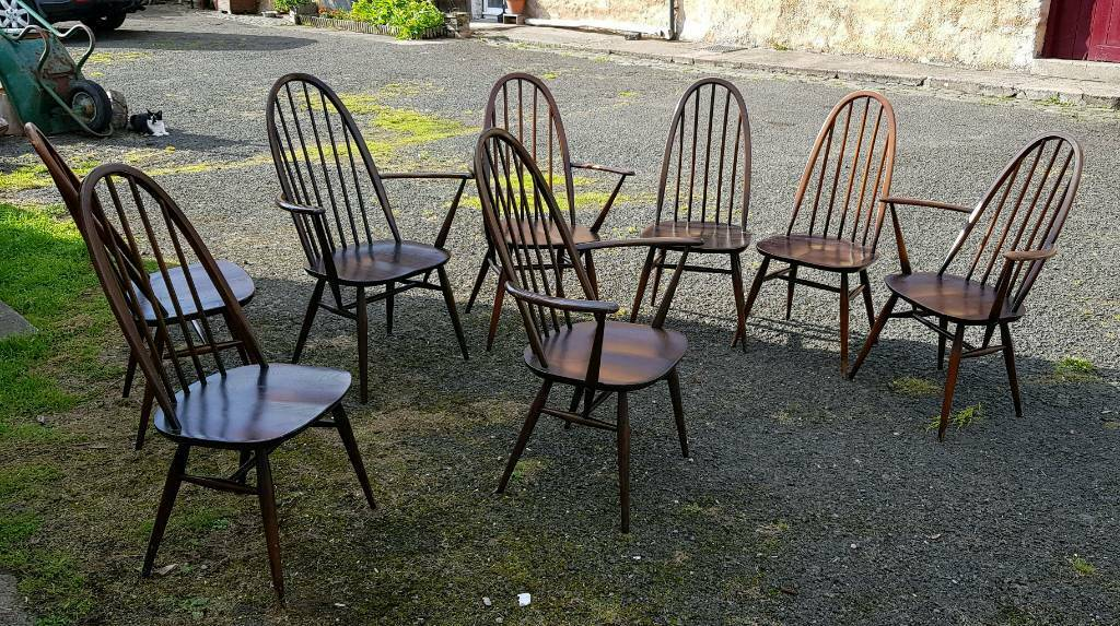 2 Ercol Windsor Carver Dining Kitchen Chairs Dark High
