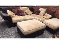 Leather & Chenille Large Corner Sofa, LOCAL DELIVERY POSSIBLE.