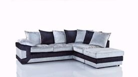 EXCELLENT QUALITY- New Dino 3 + 2 Seater Set Sofa Crushed Velvet Luxury Black-Silver OR Brown-Mink