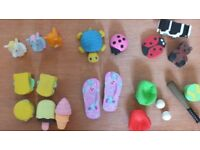 Unused Mixed set of 21 Fun Quirky Erasers