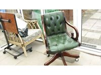 Small Chesterfield Leather Captains Chair