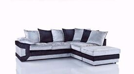 Super Luxurious !! Beautiful Black/Silver !! Dino Crushed Velvet Corner Sofa Or 3 and 2 Seater Sofa