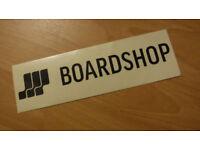 BOARDSHOP Black on Clear Vinyl Sticker - BRAND NEW!