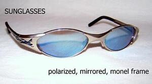 SUNGLASSES polarized, mirrored, monel metal frame, UV block