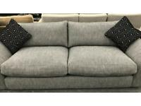 High retail fabric 4 seater sofa with scatter cushions and matching footstool