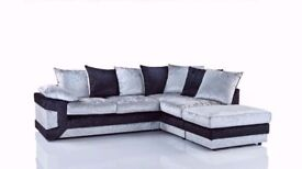 SAME DAY FAST DELIVERY--BRAND NEW DINO CRUSHED VELVET CORNER SOFA AVAILABLE CORNER AND 3+2 SUITE