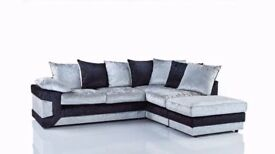 Superb Black and Silver Mix -- New Dino Crush Velvet 3 + 2 Sofa Or Corner Sofa -L and R Hand Corner-