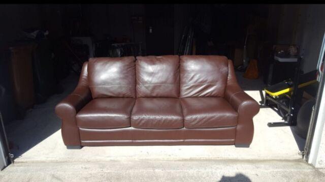 Reid Italian Leather Sofa In Chesser