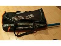 Slazenger Cricket bag with GM bat and Kookaburra gloves